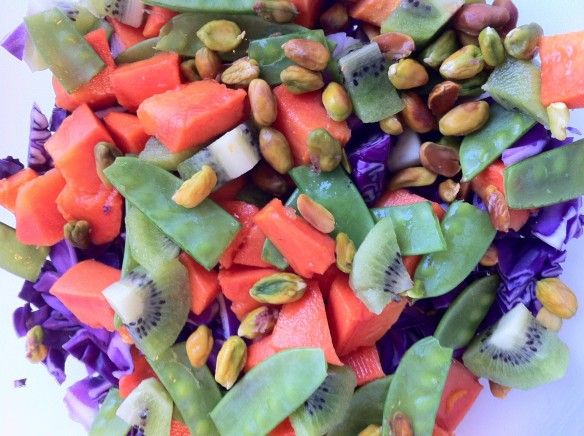 Papaya, Kiwi, Purple Cabbage Salad