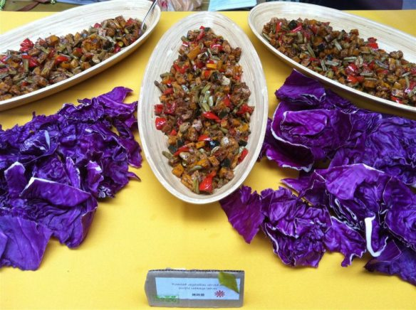 oven-rosted vegetables served in purple cabbage cups