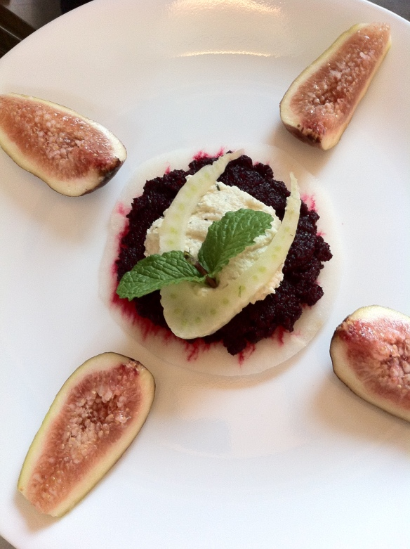jicama, beets with mint, basil and chili, macadamia nut pate, fresh fennel slice and fresh figs